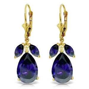 10.3 CTW 14K Solid Gold Darkest Night Sapphire Earrings