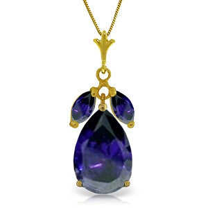 5.15 Carat 14K Solid Gold Be Near Me Sapphire Necklace