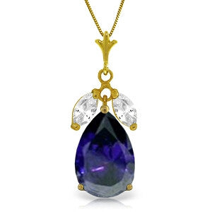 5.15 Carat 14K Solid Gold Feverish Sapphire White Topaz Necklace