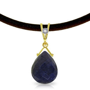 7.81 Carat 14K Solid Gold Attraction Sapphire Diamond Necklace