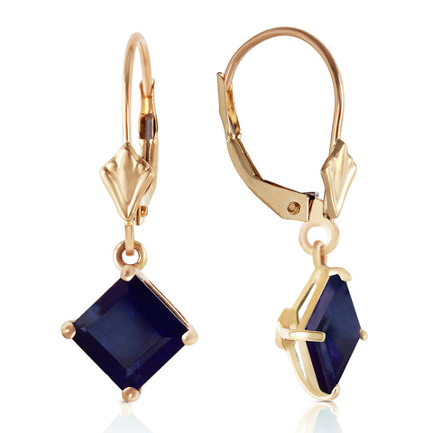 2.9 CTW 14K Solid Gold Cool Current Sapphire Earrings