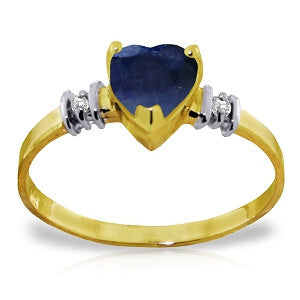 1.03 Carat 14K Solid Gold Ring Natural Sapphire Diamond