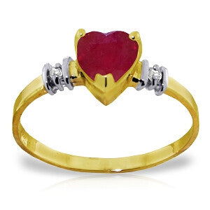 1.03 Carat 14K Solid Gold Ring Natural Ruby Diamond