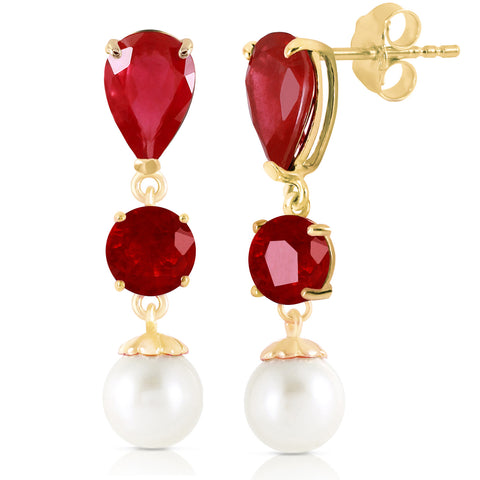 Ruby Pearl Jewelry 10.1 Carat 14K Solid Gold Chandelier Earrings
