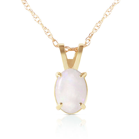 0.45 Carat 14K Solid Gold Floating In Clowds Opal Necklace