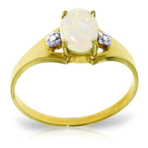 0.46 CTW 14K Solid Gold Rings Natural Diamond Opal