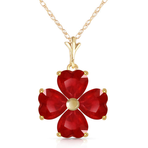 3.6 CTW 14K Solid Gold Consolation Ruby Necklace