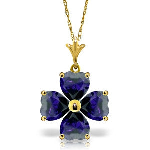 3.6 Carat 14K Solid Gold Beauty At Best Sapphire Necklace