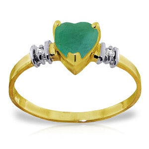 1.03 CTW 14K Solid Gold Ring Natural Emerald Diamond