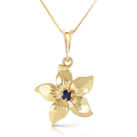 0.1 Carat 14K Solid Gold Flower Necklace Natural Sapphire