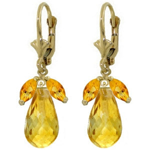 14.4 CTW 14K Solid Gold Alicia Citrine Earrings
