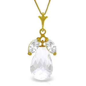 7.2 Carat 14K Solid Gold A Better Answer White Topaz Necklace