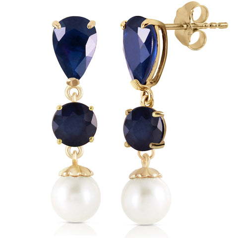 10.1 CTW 14K Solid Gold Chandelier Earrings Sapphire Pearl