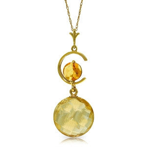 5.8 CTW 14K Solid Gold Admission To My Heart Citrine Necklace