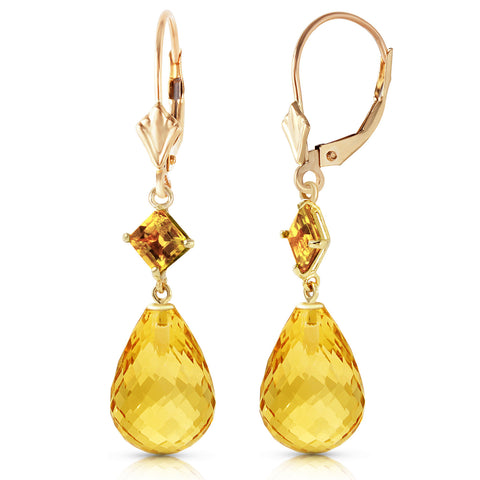 11 Carat 14K Solid Gold Broadway Citrine Earrings