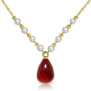 15.6 Carat 14K Solid Gold Eternal Passion Ruby Diamond Necklace