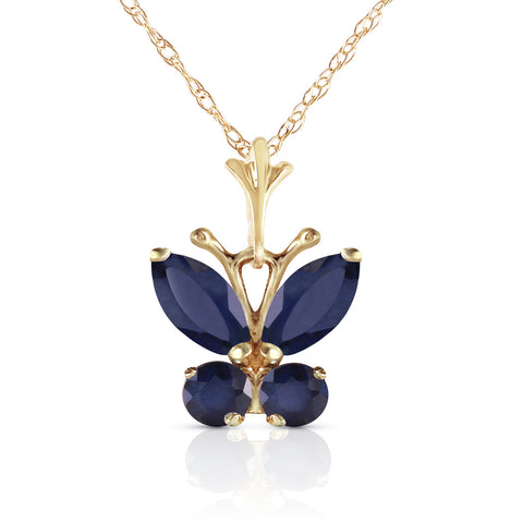 0.6 Carat 14K Solid Gold Butterfly Necklace Natural Sapphire