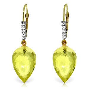 18.15 Carat 14K Solid Gold Drop Briolette Lemon Quartz Diamond Earrings