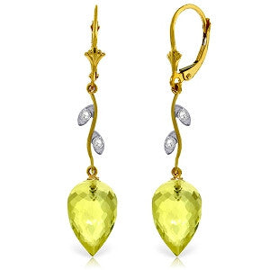 18.02 CTW 14K Solid Gold Diamond Drop Lemon Quartz Earrings