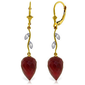 26.12 Carat 14K Solid Gold Diamond Drop Ruby Earrings