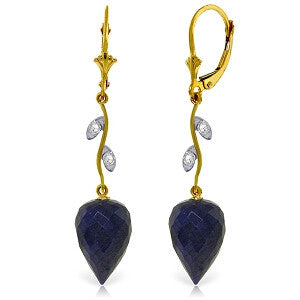 25.72 Carat 14K Solid Gold Diamond Drop Sapphire Earrings