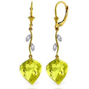 21.52 Carat 14K Solid Gold Diamond Spiral Lemon Quartz Earrings