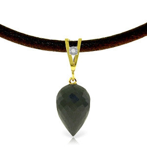 12.26 Carat 14K Solid Gold Leather Necklace Diamond Black Spinel