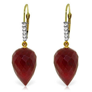 26.25 Carat 14K Solid Gold Drop Briolette Ruby Diamond Earrings
