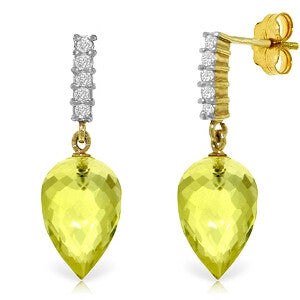 18.15 Carat 14K Solid Gold Earrings Diamond Lemon Quartz