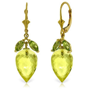 19 CTW 14K Solid Gold Earrings Peridot Briolette Lemon Quartz