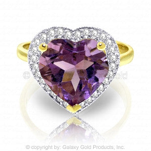 3.24 Carat 14K Solid Gold Ring Diamond Heart Amethyst