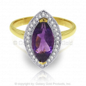 1.8 Carat 14K Solid Gold Ring Diamond Marquis Amethyst