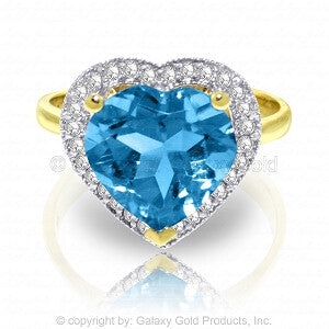 6.44 Carat 14K Solid Gold Ring Diamond Heart Blue Topaz