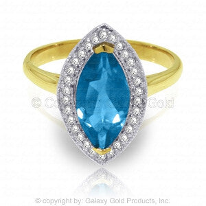 2.4 Carat 14K Solid Gold Ring Diamond Marquis Blue Topaz