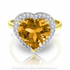 3.24 Carat 14K Solid Gold Ring Diamond Heart Citrine