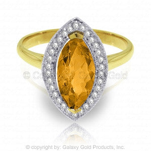 1.8 Carat 14K Solid Gold Ring Diamond Marquis Citrine
