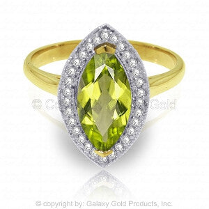 2.15 Carat 14K Solid Gold Ring Diamond Marquis Peridot
