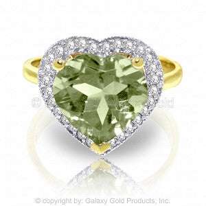 3.24 CTW 14K Solid Gold Ring Diamond Heart Green Amethyst