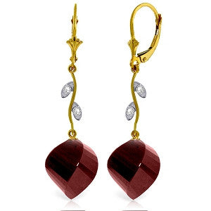 30.52 Carat 14K Solid Gold Diamond Spiral Ruby Earrings