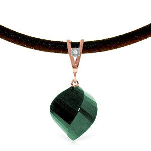 14K Solid Rose Gold & Leather Necklace w/ Diamond & Emerald