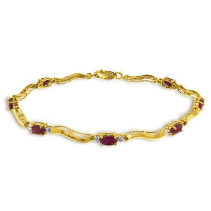 2.01 CTW 14K Solid Gold Tennis Bracelet Diamond Ruby