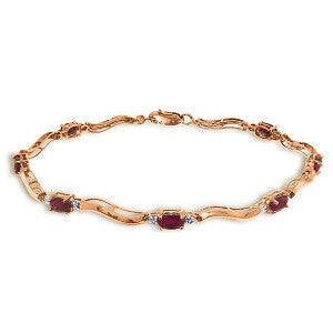 2.01 Carat 14K Solid Rose Gold Tennis Bracelet Diamond Ruby