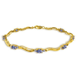 2.01 Carat 14K Solid Gold Tennis Bracelet Diamond Tanzanite