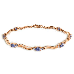 2.01 Carat 14K Solid Rose Gold Tennis Bracelet Diamond Tanzanite