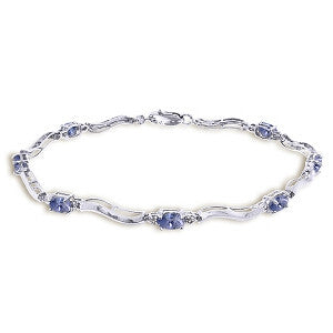 2.01 CTW 14K Solid White Gold Tennis Bracelet Diamond Tanzanite