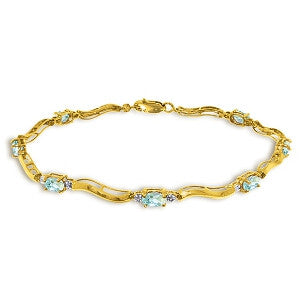 2.01 Carat 14K Solid Gold Tennis Bracelet Diamond Aquamarine