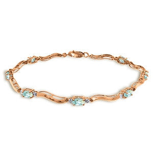2.01 CTW 14K Solid Rose Gold Tennis Bracelet Diamond Aquamarine