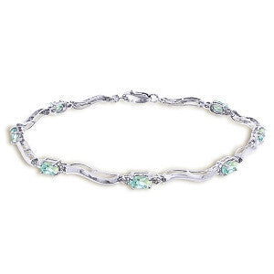 2.01 Carat 14K Solid White Gold Tennis Bracelet Diamond Aquamarine