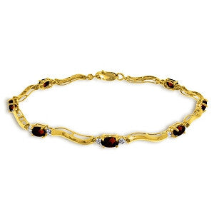 2.01 CTW 14K Solid Gold Tennis Bracelet Diamond Garnet