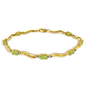 2.01 CTW 14K Solid Gold Tennis Bracelet Diamond Peridot